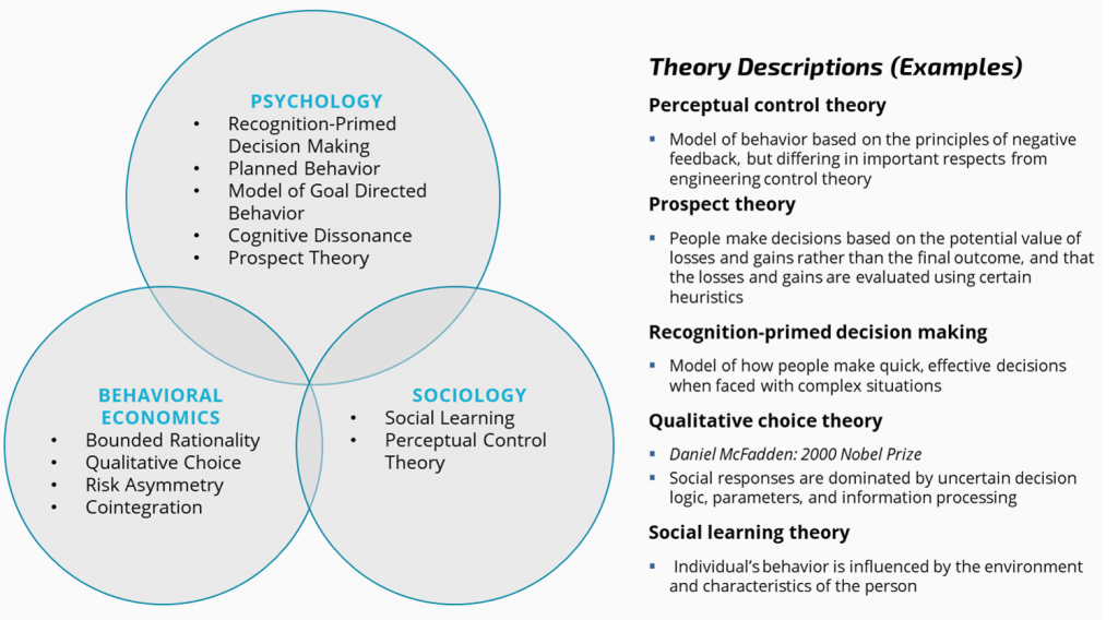 Theory Descriptions (Examples) Perceptual Control Theory, Prospect Theory, Recognition-primed decision making, Qualitative choice theory, Social learning theory.