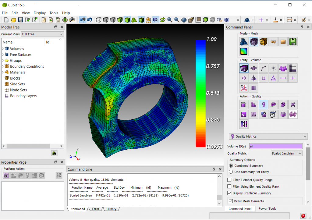 CUBIT™ provides a comprehensive user interface that allows the user to generate and visualize complex meshes.