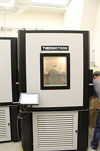 Environmental chamber, 3-ft cubed, for hot/cold/humidity testing in vaulted area