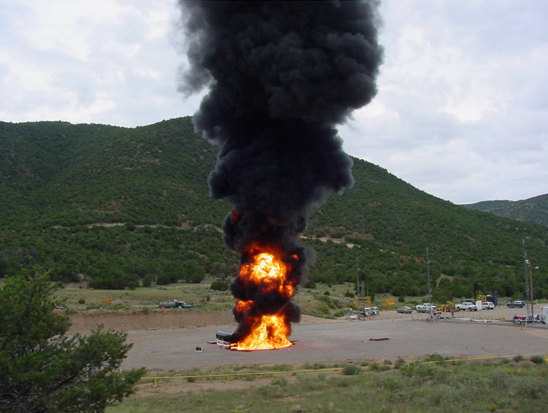 A 10 CFR Regulatory fire for Radioactive Material Shipping Packages in an outdoor setting. This approach allows testing of very large packages.