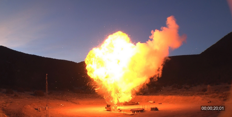 A large hydrocarbon fuel fire ball created for hazards characterization.