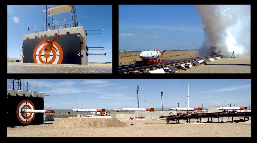 High-speed imaging of a forward ballistic impact test.