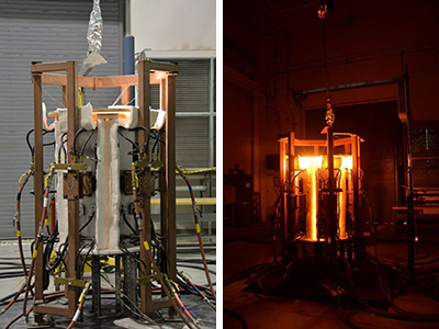 6-panel lamp array for simulated fire testing, unpowered and powered