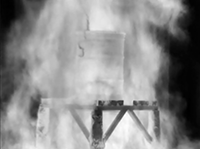 Infrared imaging diagnostic. (The IR imaging diagnostics at the TTC are used in temperature, radiometric, and imaging modes. Here it is used to view structural changes in a test item while fully engulfed in a hydrocarbon fuel fire.)