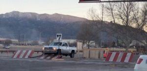 Truck approaching barricade