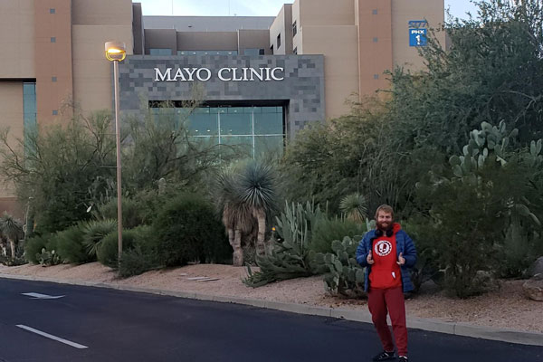 Lawrence Allen in front of Mayo Clinic