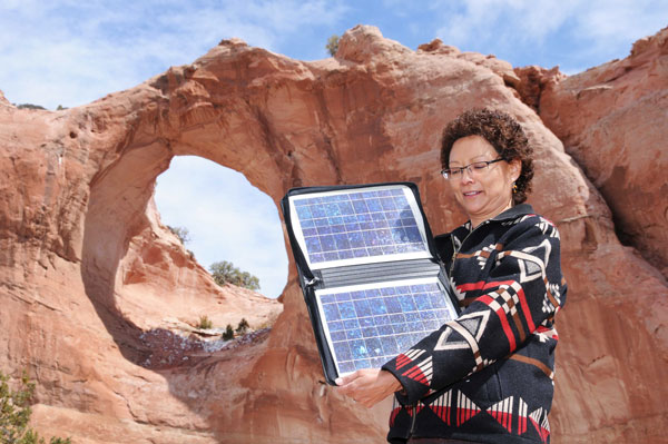 Sandra Begay at Window Rock natural feature