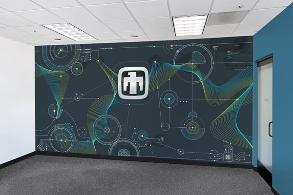 wall in leased facility designed to match main campus