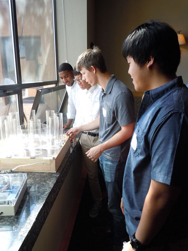 group of interns looks at plastic tubes filled with water