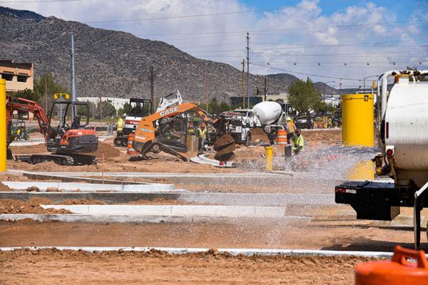 Eubank gate construction crews at work