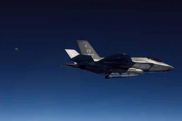 F-35A Lightning II jet fighter in flight