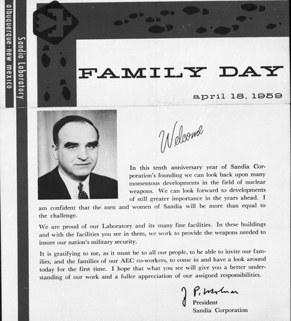 1959 letter printed in family day brochure