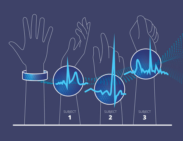 illustration of arms with different heartbeats