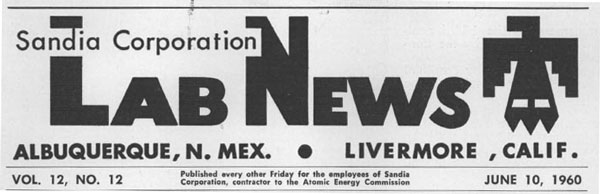 Lab News masthead circa 1960