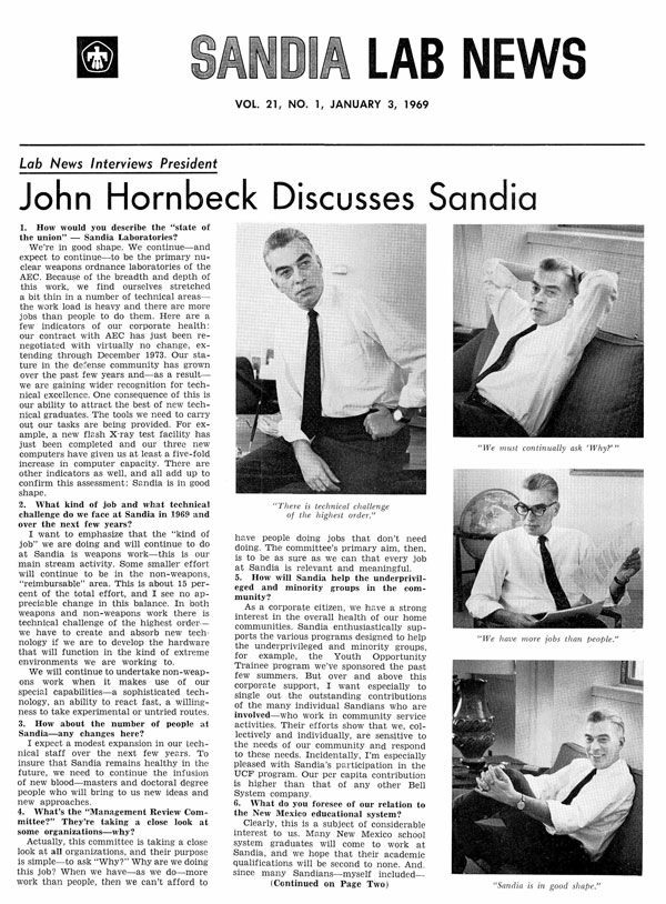 front page featuring lab director interview