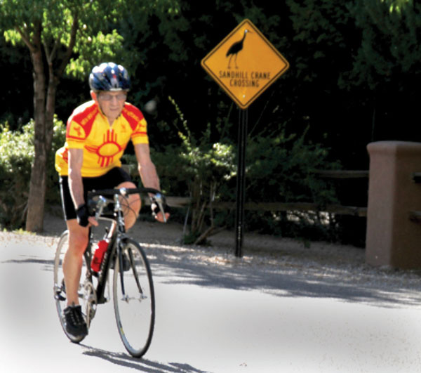 Larry riding his bike