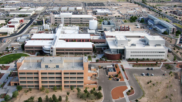 current aerial view of Tech Area 1 with MESA pointed out in center