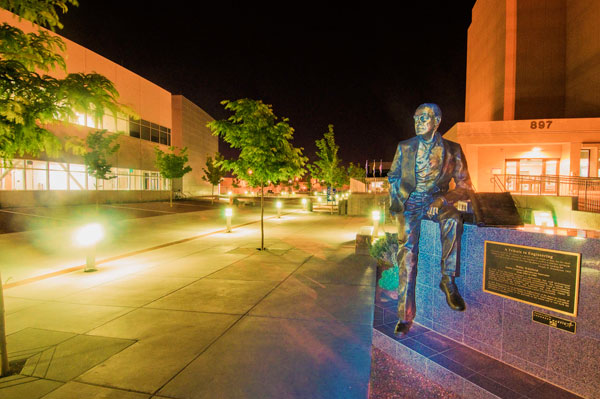 Willis Whitfield statue in front of MESA