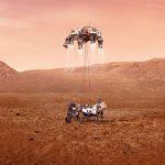 Illustration of Perseverance rover landing on Mars