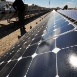 researcher looking at solar panels