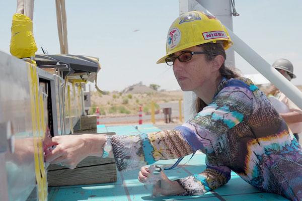 Sylvia Saltzstein works on an engineering project
