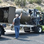 Fat Man nuclear weapon shell loaded on flatbed