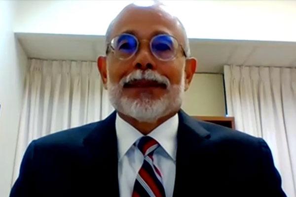 Colonel Sergio de la Peña speaking via video