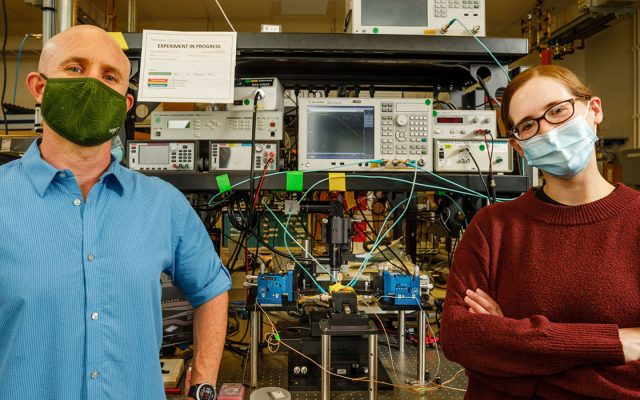 Scientists Matt Eichenfield, left, and Lisa Hackett led the Sandia team that created the world's smallest and best acoustic amplifier.