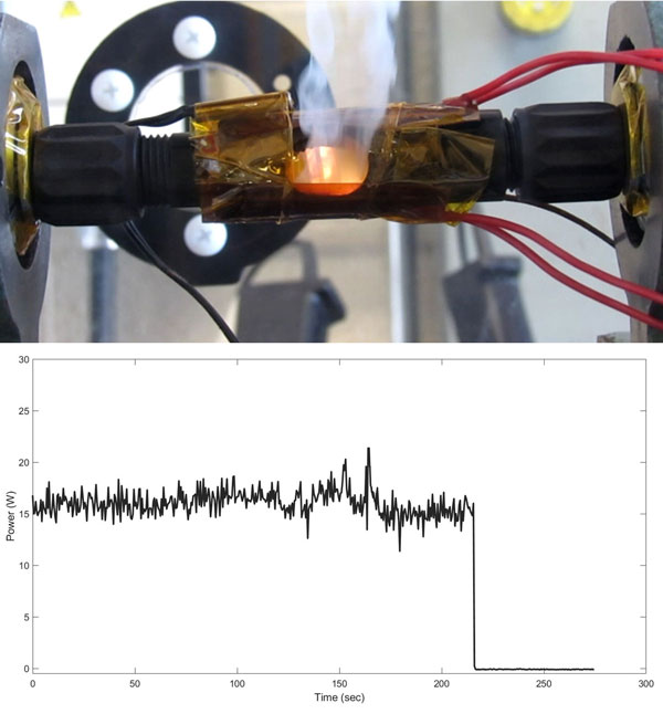 arc fault connector test and chart of voltage measurements