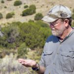 bird takes flight from biologist's hand