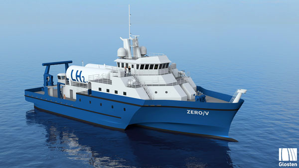 Engineering model of the Zero-V hydrogen-powered research vessel