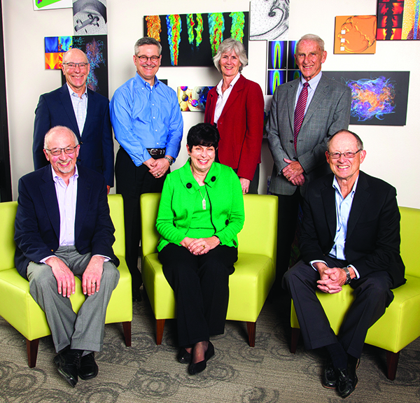 Current and former Sandia California VPs from top left to right: Rick Stulen, Steve Rottler, Marianne Walck, and John Crawford. Sitting: Paul Hommert, Mim John, and Tom Hunter.