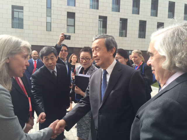 WITH?DOE Secretary Ernest Moniz looking on, Vice Premier Ma Kai of the People's Republic of China greets Jill Hruby at a ceremony to commission the Chinese Center of Excellence for nuclear security.