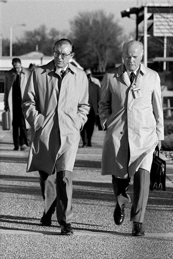 John Glenn walks with Orval Jones