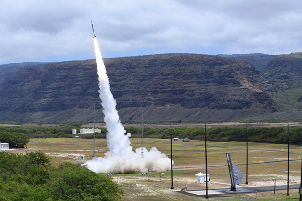 A sounding rocket lifts off from the Kauai Test Facility in Hawaii