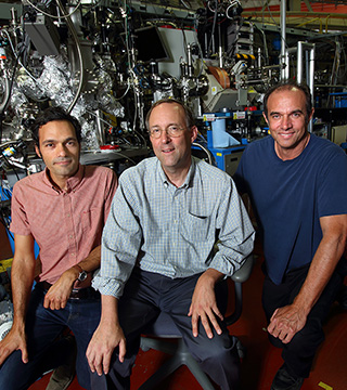 The Hydrogen Materials-Advanced Research Consortium (HyMARC) will advance solid-state materials for onboard hydrogen storage. Mark Allendorf (8300), center, is leading HyMARC with significant contributions from Farid El Gabaly Marquez (8342, left) and Leonard Klebanoff (8367), all shown here at Berkeley Lab's Advanced Light Source.(Photo by Dino Vournas)