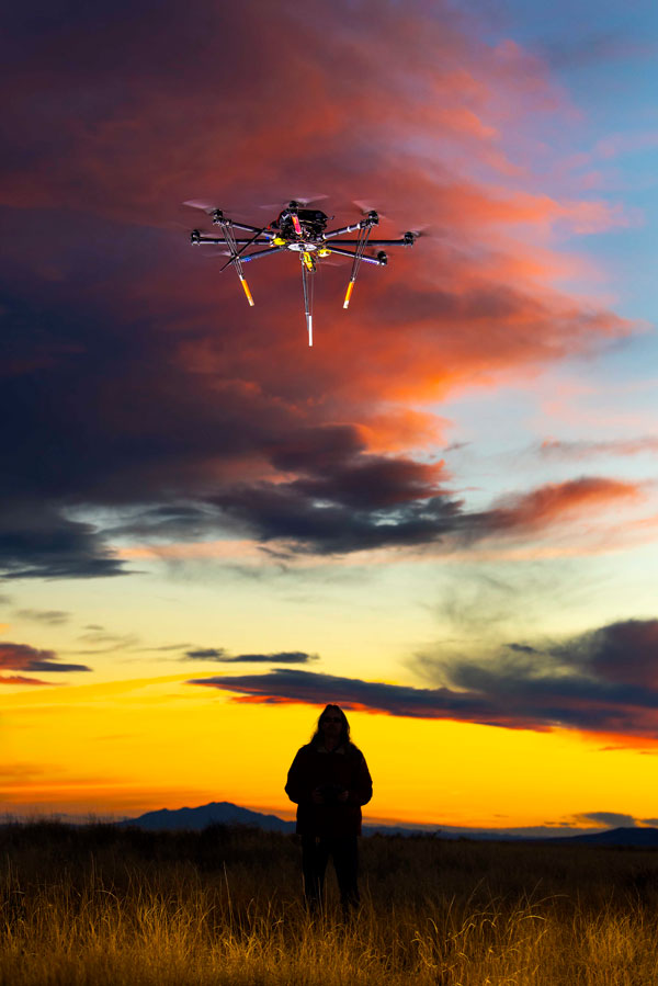 a drone at dusk