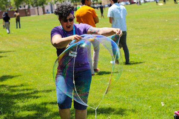 intern creates giant soap bubble