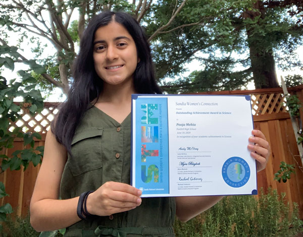 high school student receives math and science award