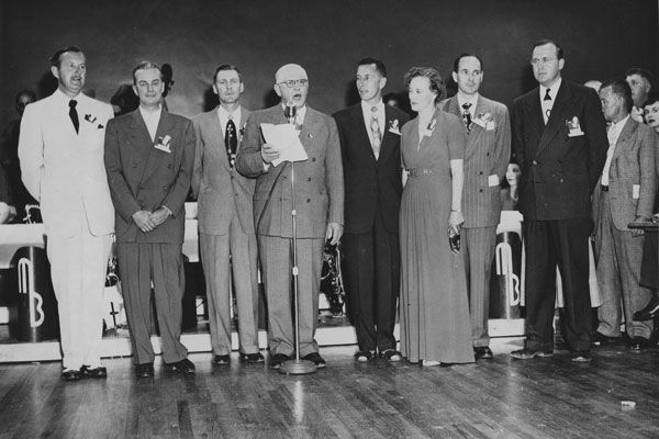 bunch of people on stage at Coronado Club in 1950