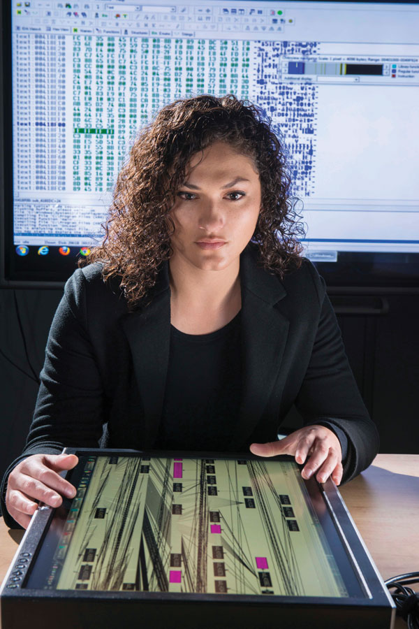 scientist works on complicated computer program