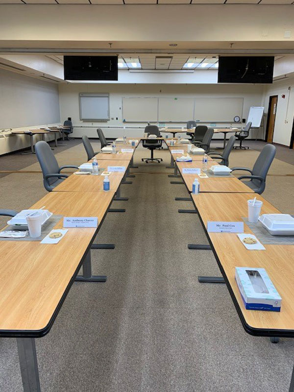conference table with spaced seating