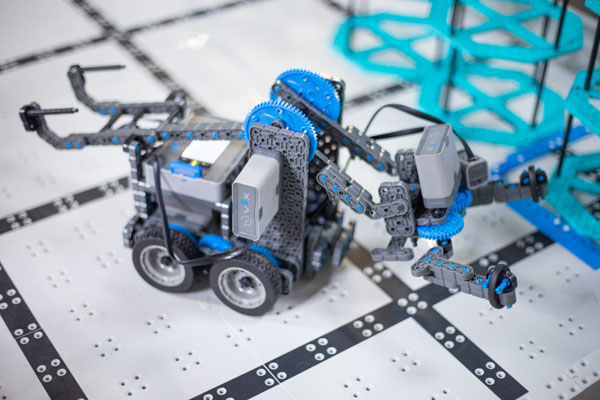 small robot on navigation course