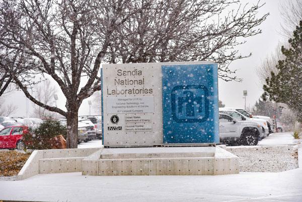 Sandia Labs sign in snow