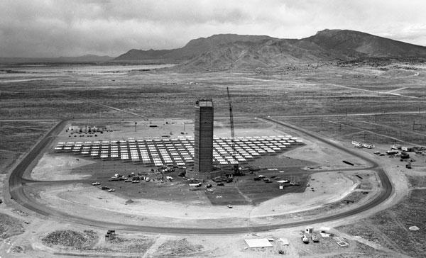 Solar tower under construction in 1978