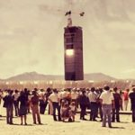 1970s photo of visitors at the newly built solar tower