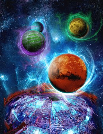 An artist's conception of the gravity-supported magnetic fields of selected super-Earths examined by Sandia's Z machine.