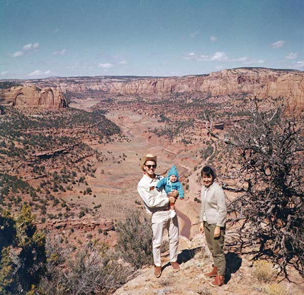 In the spring of 1966, Dr. Vall, his wife, and daughter — clad in moccasins — enjoyed the beauty of the Tuba City, Arizona, area.