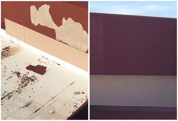 before and after photo of stucco wall repair