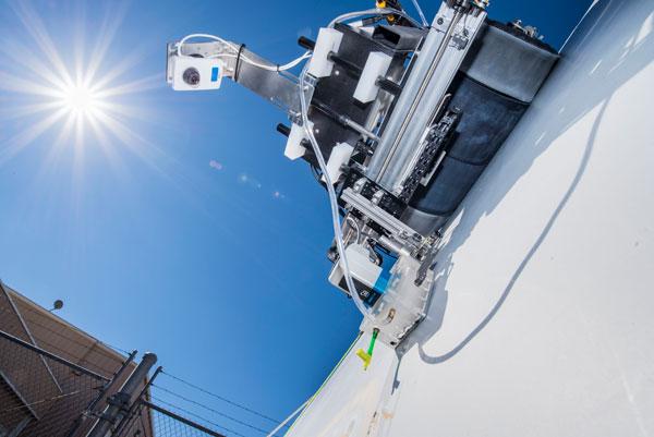 crawling robot inspects wind turbine
